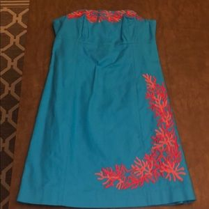 Lilly Pulitzer strapless embroidered dress size 8